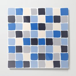 Small Square Tiles - Blue Checkered Pattern Metal Print