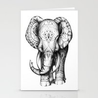 ornate elephant Stationery Cards featuring Ornate elephant by Creadoorm