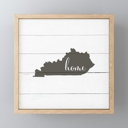 Kentucky is Home - Charcoal on White Wood Framed Mini Art Print