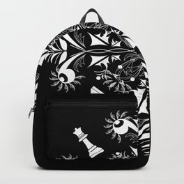 White Chess Inspired Queenly Motif Backpack