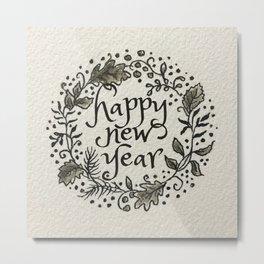 New Year Wreath Metal Print