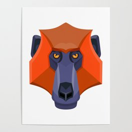 Baboon Head Flat Icon Poster