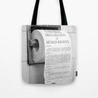 toilet Tote Bags featuring Toilet Paper by Natalia Delgado