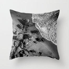 Ocean Waves on Rocks Throw Pillow