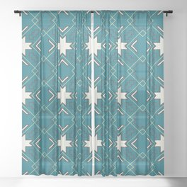Ethnic pattern in blue Sheer Curtain