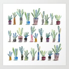 Plants in pots Art Print