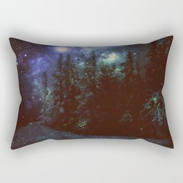 Galaxy Forest Deep Dark Blue & Green Rectangular Pillow