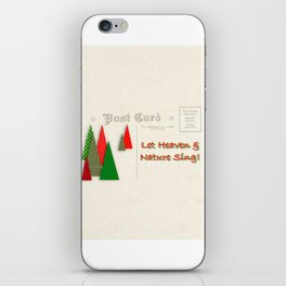 Contemporary Christmas Trees on Vintage Postcard iPhone Skin