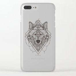 Geometric Wolf Clear iPhone Case