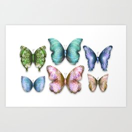 Butterfly Illustrations 6 (of 11) // Beautiful Mandala Detailed Wings Design // Green Purple Blue Art Print