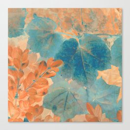 Blue and Orange Autumn Leaves Canvas Print