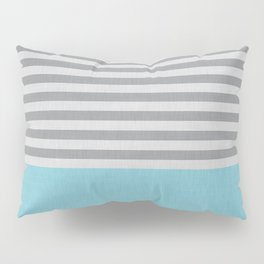 Blue and gray stripes and color block Pillow Sham