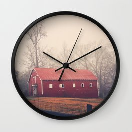 Little Red Barn in the Fog Wall Clock