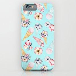 Pink & Teal Summer Fun Flower Ice Cream Cone - Pattern iPhone Case