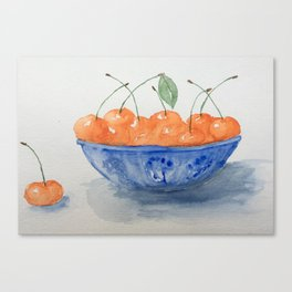 Cherries in a blue vase by Sirena Sana Canvas Print