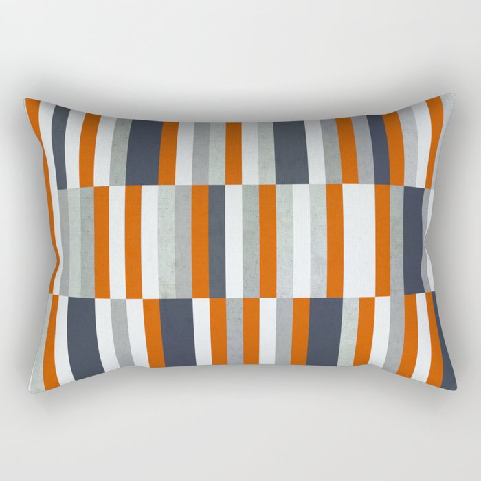 Orange, Navy Blue, Gray / Grey Stripes, Abstract Nautical Maritime Design by Rectangular Pillow