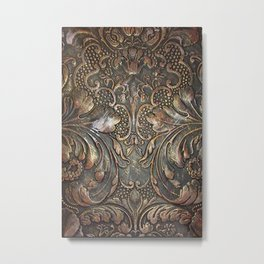 Golden Brown Carved Tooled Leather Metal Print
