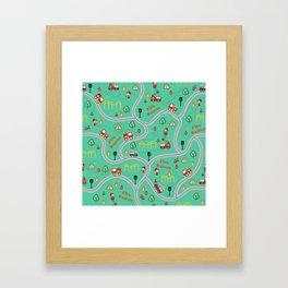 Fireman cute seamless kids pattern mint Framed Art Print