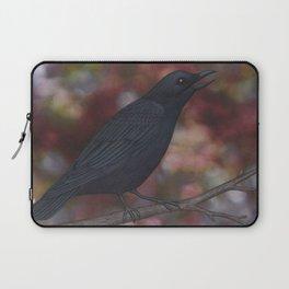 crow on a branch bokeh Laptop Sleeve