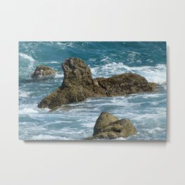 Underwater  moss-covered cliffs breaking the surface Metal Print
