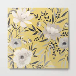Modern, Floral Prints, Yellow and Gray, Art for Walls Metal Print