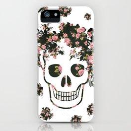 Flower Skull, Floral Skull, Pink Flowers on Human Skull iPhone Case