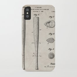 Baseball Bat Patent - Baseball Art - Antique iPhone Case