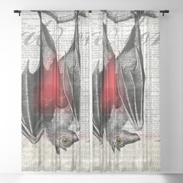 Bat Love by Kathy Morton Stanion Sheer Curtain