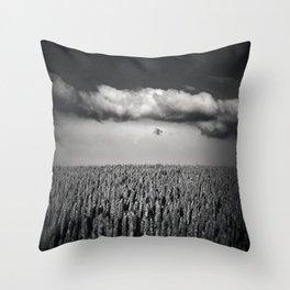 cloud over wheat field Throw Pillow