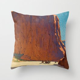 Sunset on the sandstone cliffs, Canyon de Chelly Landscape by Edgar Alwin Payne Throw Pillow