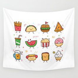 Food Doodle Wall Tapestry