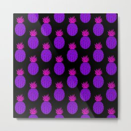 Purple Disco Pineapples Metal Print