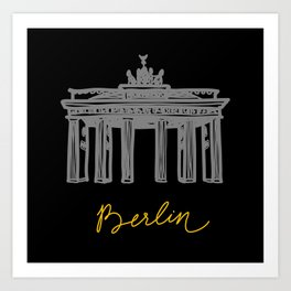 Brandenburg Gate in Berlin (black and yellow) Art Print