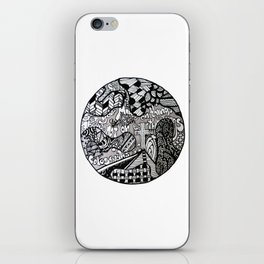 Black and White Biblical Zentangle Mandela Artwork with Colossians 3:2 iPhone Skin