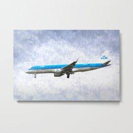 KlM Embraer 190 Art Metal Print
