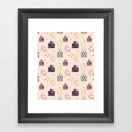 Christmas pattern.Gifts . Framed Art Print