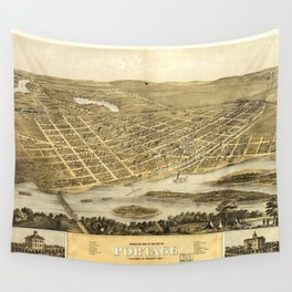 Bird's Eye View of Portage, Wisconsin (1868) Wall Tapestry