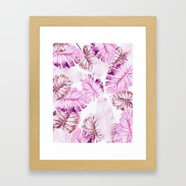 Pastel Monstera pattern Framed Art Print