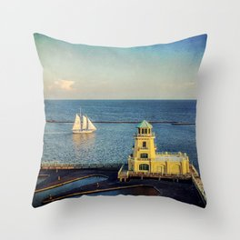 Biloxi Schooner and Lighthouse Throw Pillow