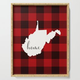 West Virginia is Home - Buffalo Check Plaid Serving Tray
