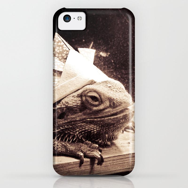 Paper samurai bearded dragon lizard iphone case