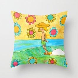 hang 10 groovy surf dude flower power Throw Pillow