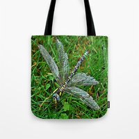 dragonfly Tote Bags featuring dragonfly by  Agostino Lo Coco