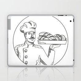 Baker Holding Bread on Plate Doodle Art Laptop & iPad Skin