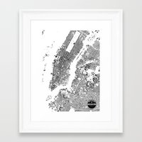 new york map Framed Art Prints featuring New York Map by Maps Factory