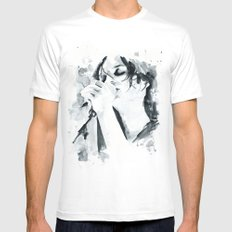 Brian Molko (breathing in) Mens Fitted Tee LARGE White