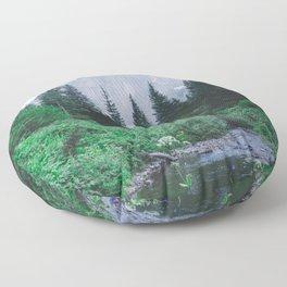 Mountain Through The Lush Forest Floor Pillow