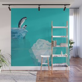 Penguins and Icebergs Wall Mural