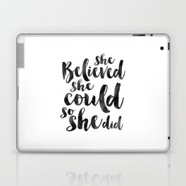 NURSERY GIRLS DECOR, She Believed She Could So She Did,Girls Room Decor,Girly Svg,Teens Girls,Quote Laptop & iPad Skin