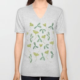 "Watercolor Painting of Picture ""Green Leaves"" Unisex V-Neck"